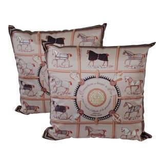 Horse Patterned Scarf Pillows - A Pair
