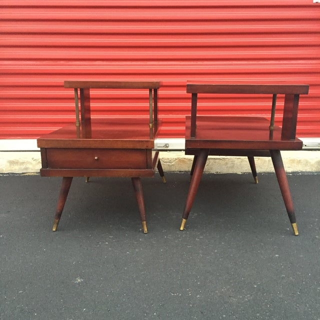Mid-Century Mahogany End Tables - A Pair - Image 11 of 11