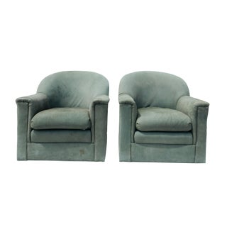 Leathermen's Guild Mint Green Leather Barrel Chairs- A Pair