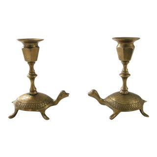 Brass Turtle Candlesticks - A Pair