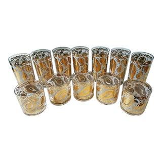 Mid-Century Georges Briard Gold Paisley Vintage Glasses - Set of 12