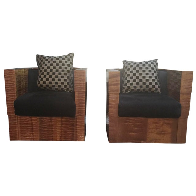 Image of Pace Collection Swivel Tub Chairs - A Pair