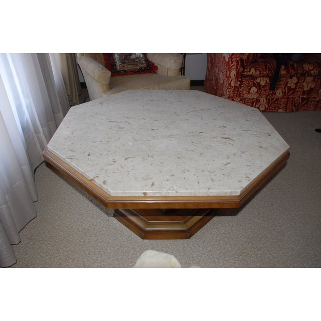 Image of Distinctive Octogonal Marble-Top Cocktail Table