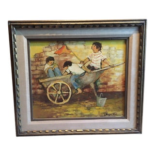 "Mid-Century ""Children at Play With Wagon"" Framed Painting"