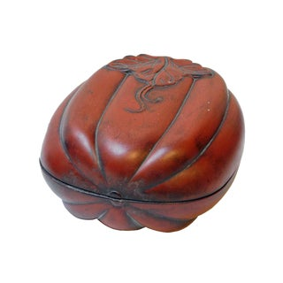 Chinese Calligraphic Pumking Shape Ink Stone With Box