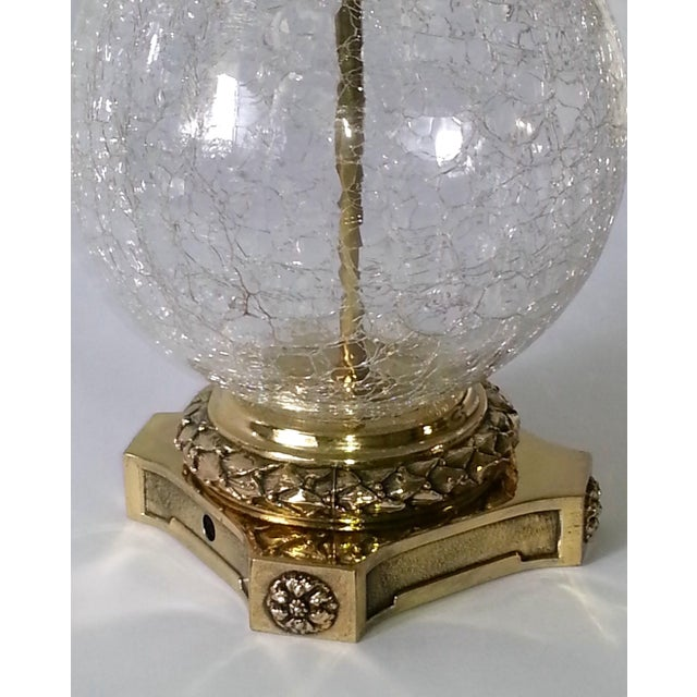 Image of VINTAGE CRACKED GLASS AND BRASS LAMP