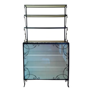 Wrought Iron Marble & Glass China Cabinet
