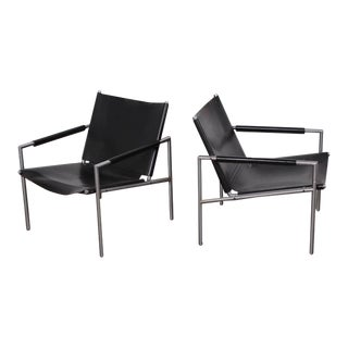 Pair of Leather Lounge Chairs by Martin Visser
