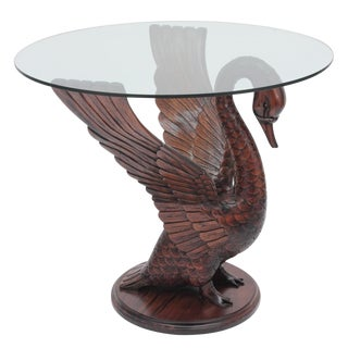 Mahogany Wood Swan Table