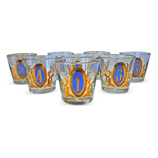 1960s Numbered Blue & Gold Tumblers - Set of 8