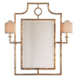 Chinoiserie-Style Gold Mirror with Sconces