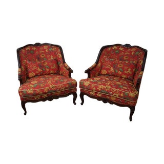 Drexel Wide French Louis XV Style Bergere Chairs - A Pair