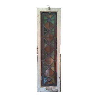 Antique Vintage Art Deco Stained Glass Window