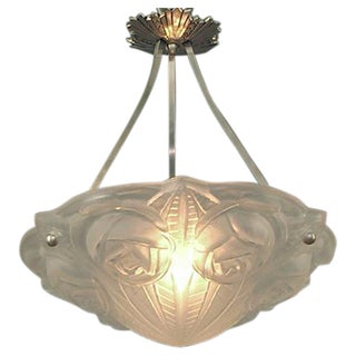 French Art Deco Lighting Bowl by Degué, with Stylized Roses