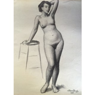 1954 Nude Female Drawing by J. Mason Reeves