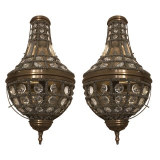 Restoration Hardware 19th C. French Empire Crystal Sconces - A Pair