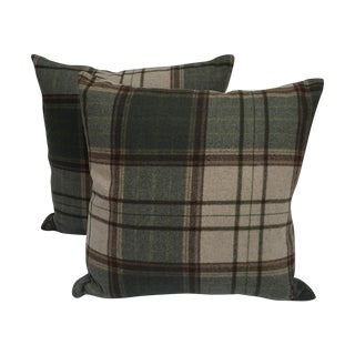 Scottish Wool Plaid Pillows - A Pair