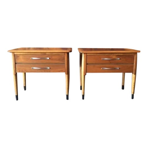 Lane Acclaim Mid-Century Walnut Nightstands - A Pair - Image 1 of 8