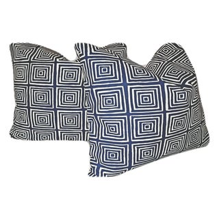 Quadrille Ziggurat Linen Pillows - A Pair