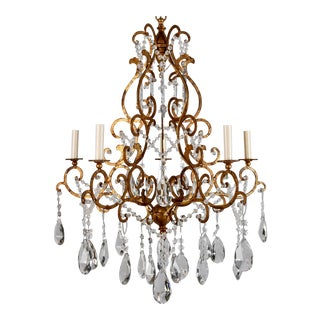 Italian Scrolled Gilt and Crystal Six Arm Chandelier c.1930