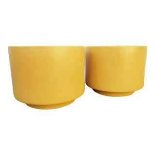 Gainey Yellow Mustard Ceramic Planters - Pair