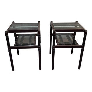Glass, Wood & Leather Accent Tables - A Pair