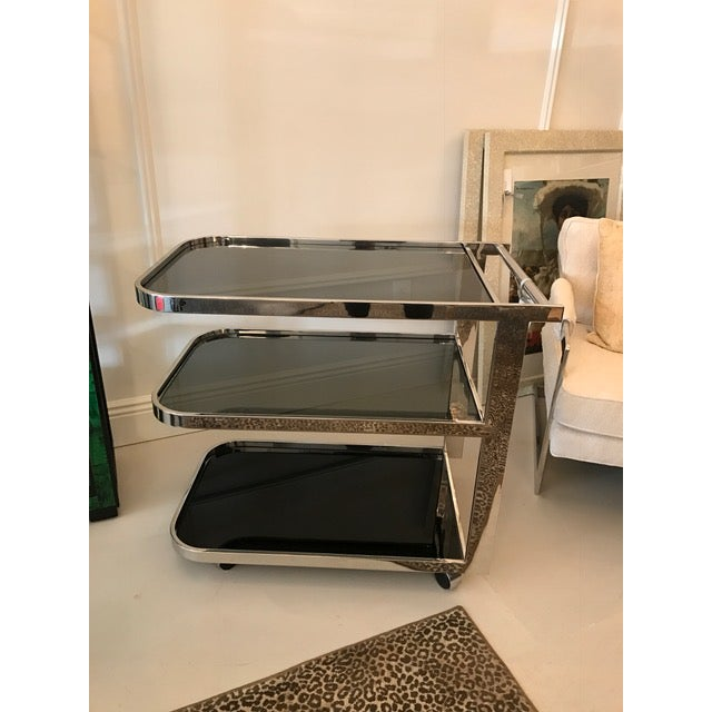 Art Deco Chrome & Smoked Glass Bar Cart - Image 2 of 5