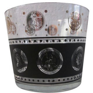 Mid-Century Black & Gold Coin Glass Ice Bucket