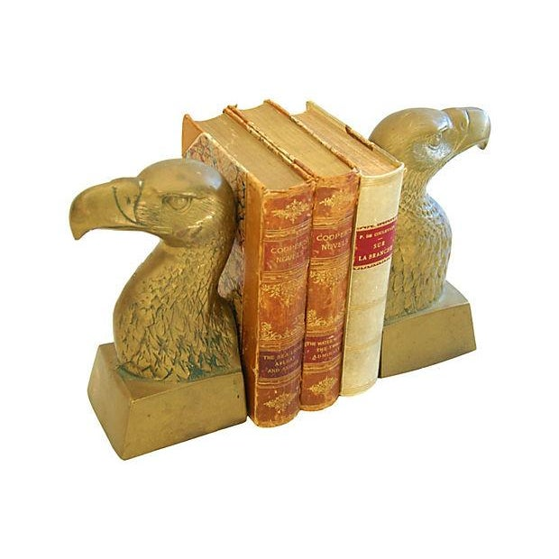 Image of Patriotic 1960s Brass Bald Eagle Bookends