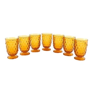 Amber Indiana Glass Colony Juice Glasses - S/7