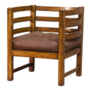 Vintage Sarreid Ltd Slated Oak Barrel Chair