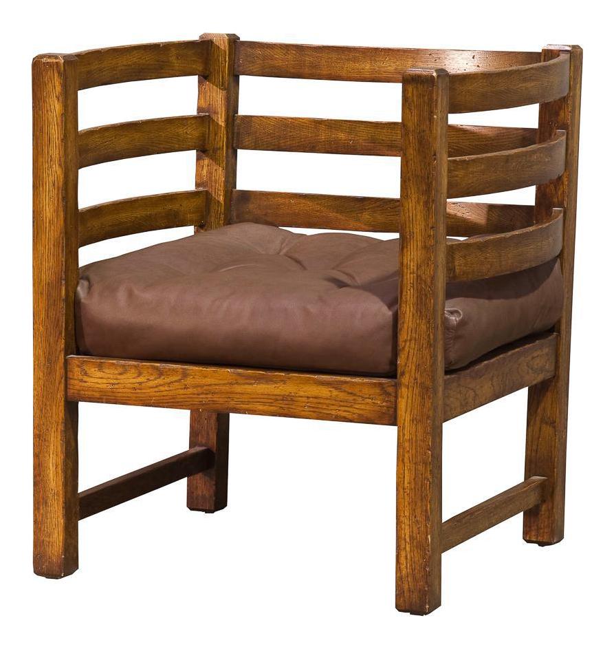 Vintage Sarreid Ltd Slated Oak Barrel Chair