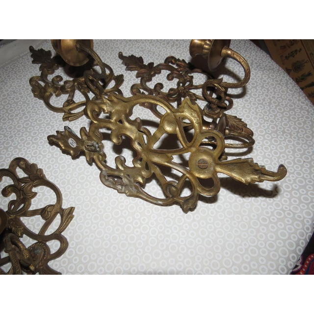 Image of Vintage Ornate Solid Brass Wall Sconces - Set of 4