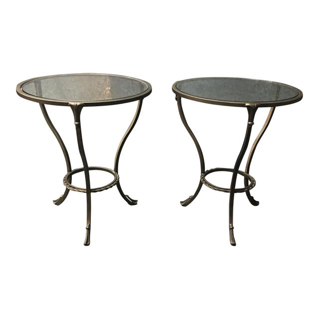 Image of Kolkka Metal & Glass Side Tables - A Pair