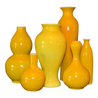 Tozai Home Canary Yellow Porcelain Vases - Set of 6