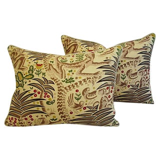 Designer Clarence House Gibbon Fabric Feather/Down Pillows - Pair