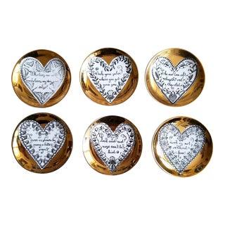 Piero Fornasetti Porcelain Coasters W Hearts - S/6