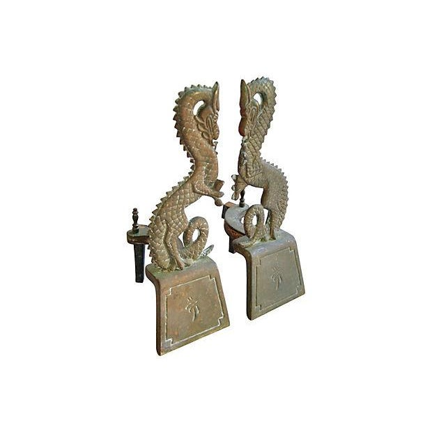 1930s Brass Dragon Fireplace Andirons - Pair - Image 2 of 5
