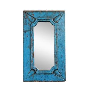 Vintage Blue Wood Mirror