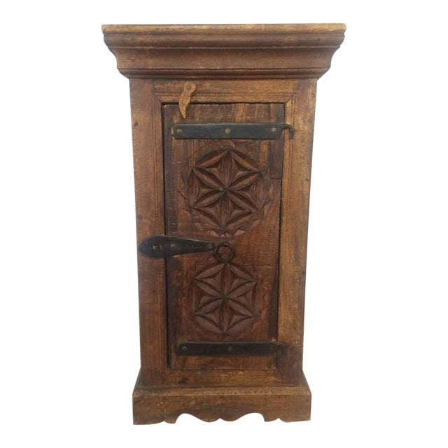 Rustic carved wooden cabinet chairish for Carved kitchen cabinets