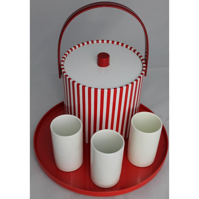 Mid-Century Red & White Ice Bucket, Tumblers and Tray Beverage Set - Image 2 of 11