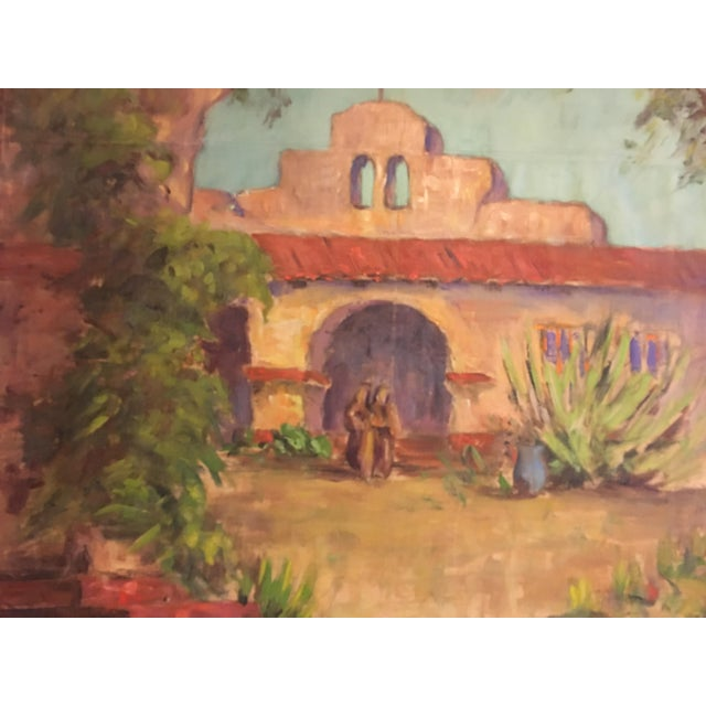 Large Vintage Mission Oil Painting on Silk Faille - Image 4 of 9