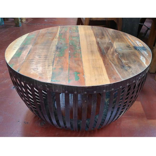Reclaimed Wood Coffee Table Round: Round Iron & Reclaimed Wood Coffee Table