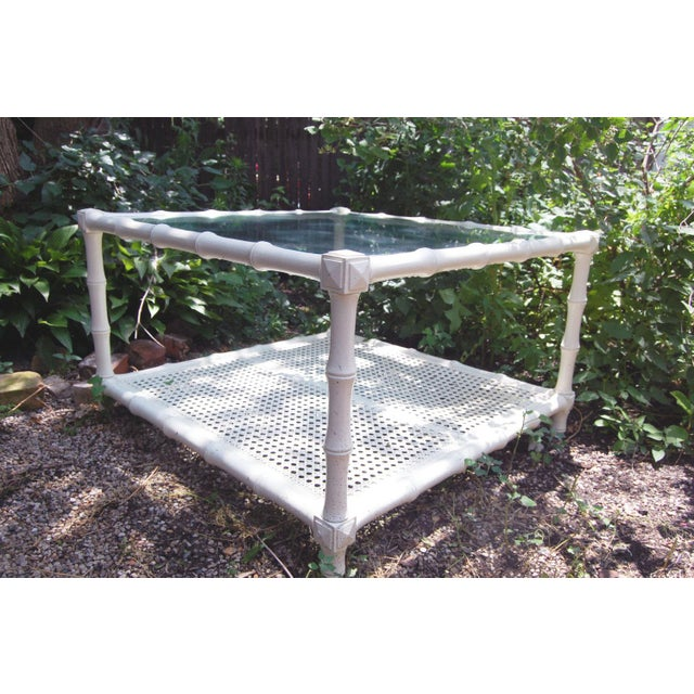 1970s Vintage Square White Wood Faux Bamboo Coffee Table With Glass Top and Caned Shelf - Image 3 of 4