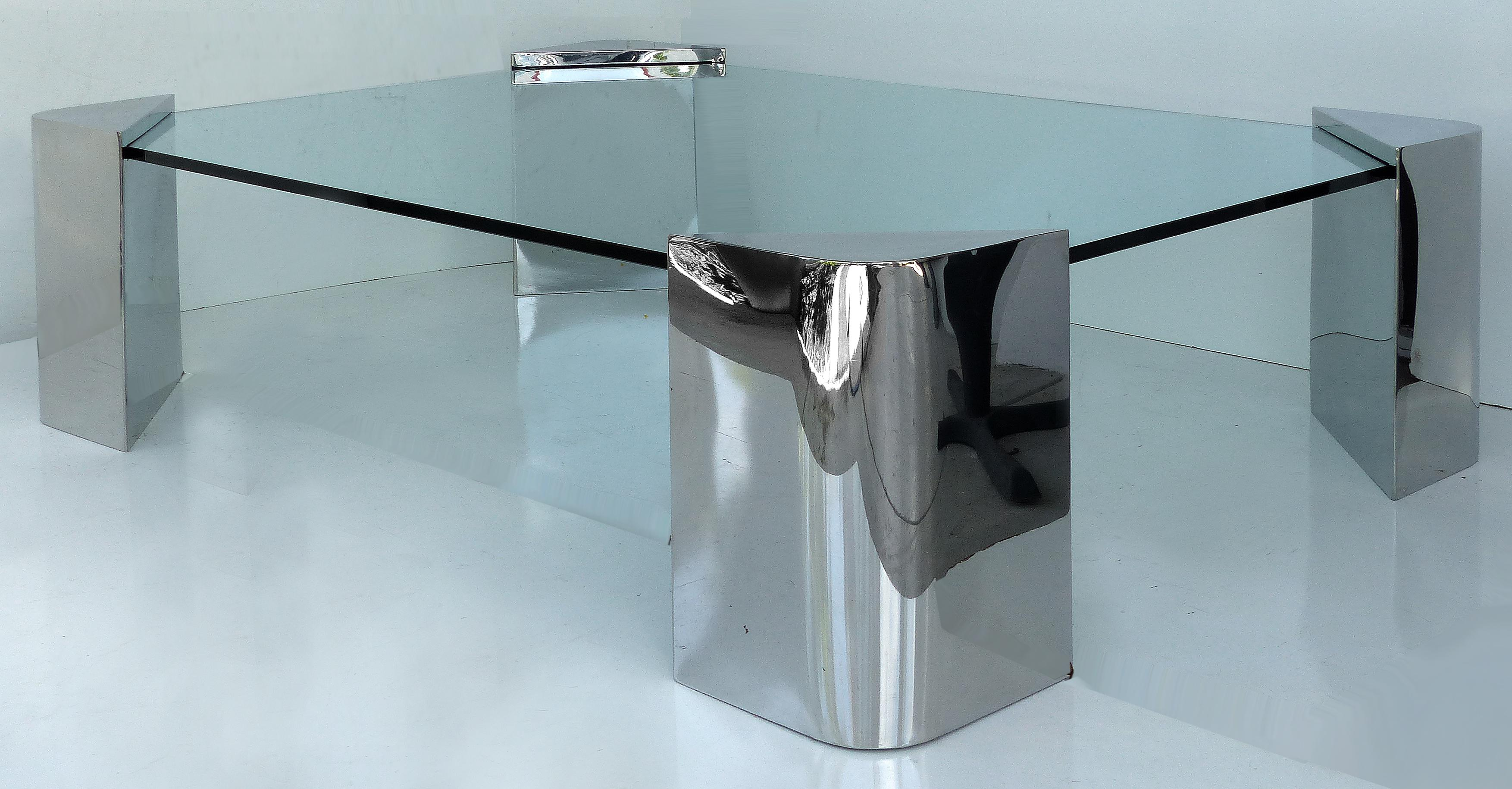 chrome u0026 glass coffee table attributed to karl springer image 3