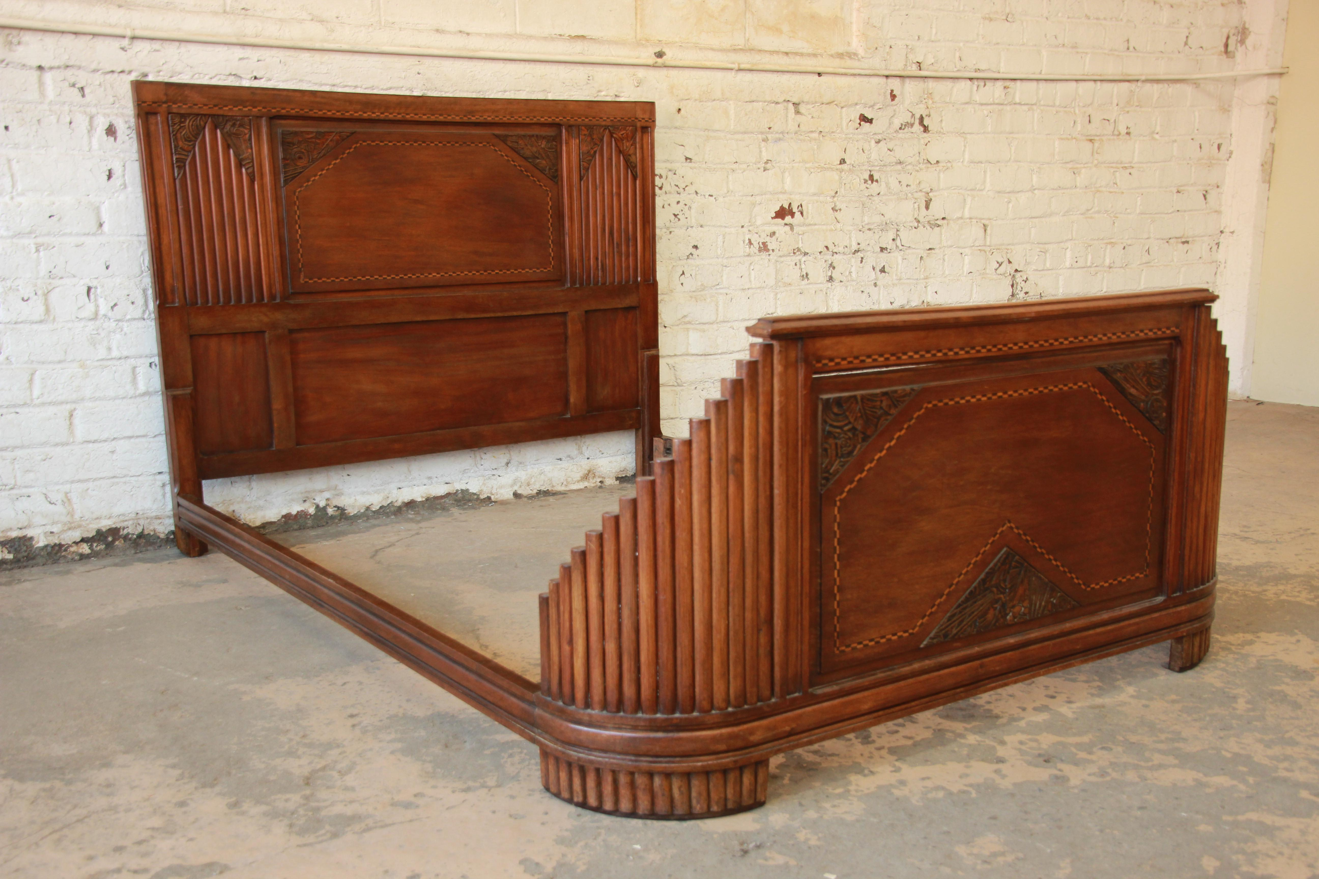 image of 1930s french art deco carved and inlaid walnut full size bed frame