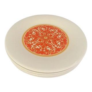 1970's Royal Doulton Orange Flowers Dessert Plates S/5