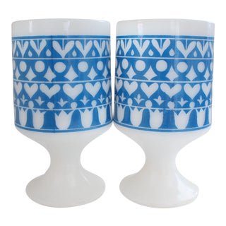 Mid-Century Milk Glass Mugs - A Pair