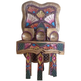 Mexican Wooden Spoon Rack With 9 Utensils - S/10