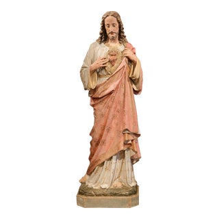Large 19th Century French Painted and Gilt Terracotta Statue of Jesus Christ